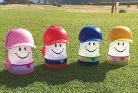 スマイルキャップLEDランタン(左からピンク、レッド、ブルー、イエロー)