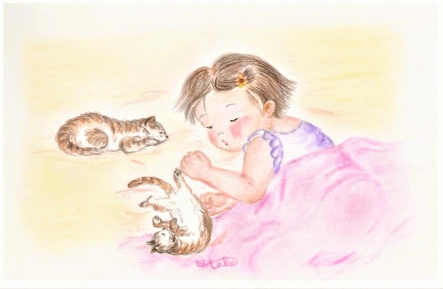 リネンの毛布をかけて寝る女の子のイラスト