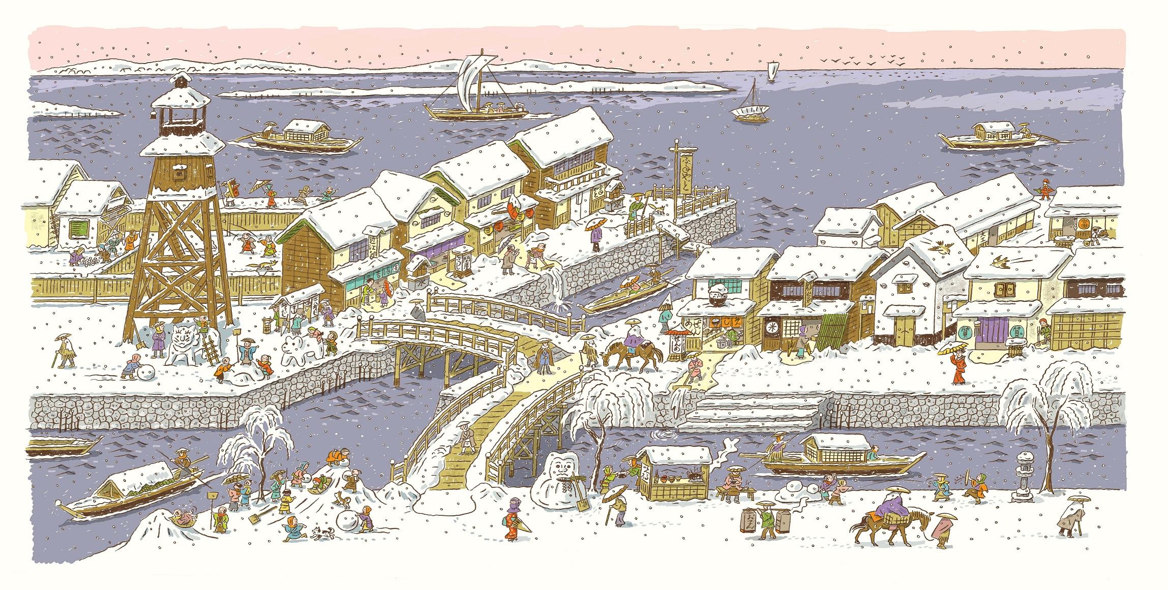 江戸の雪景色を描いたページ