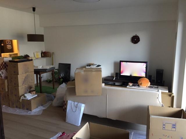 引っ越しで散らかった部屋