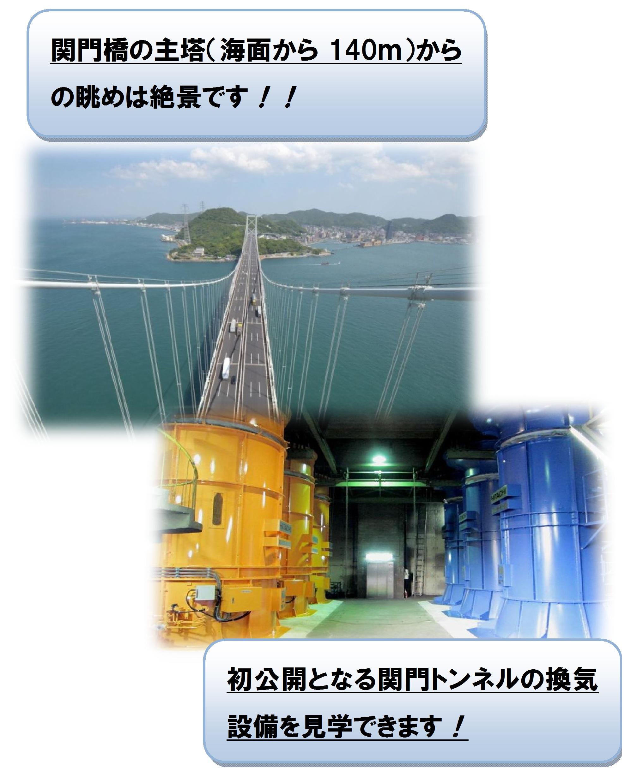 関門橋の塔頂からの眺めと初公開のトンネル換気設備
