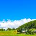 田舎の風景、緑と青空