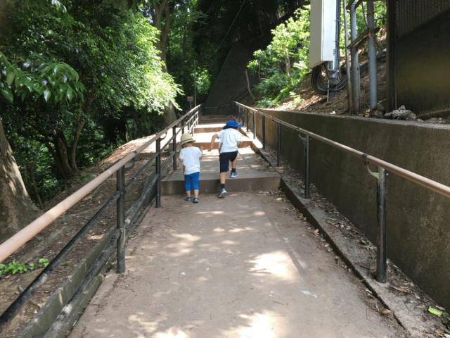 坂道を登る男児2人