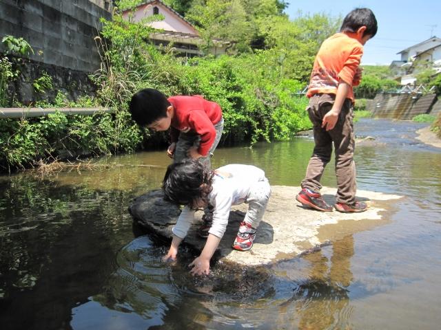 川遊びをしている3人の子どもたち