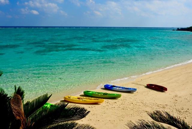 海辺に並んだカヌー