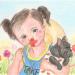 お花畑に犬を抱く少女