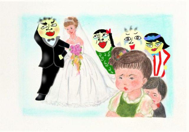 皆に囲まれ結婚式