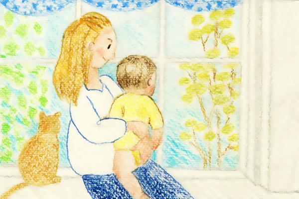 子供を抱きかかえる母親イラスト
