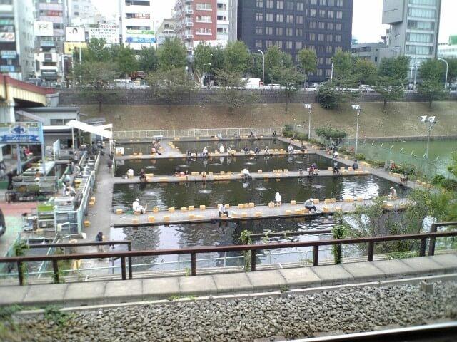 駅から見える釣り堀