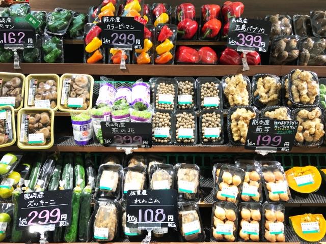 スーパーマーケットの野菜売り場