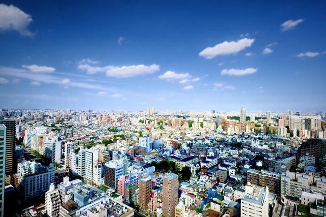 空から見た東京の街