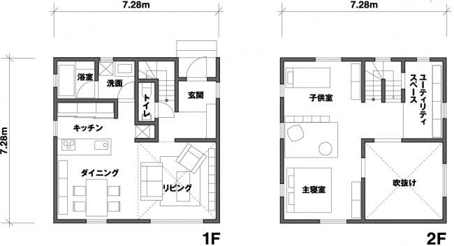 「窓の家」間取り図