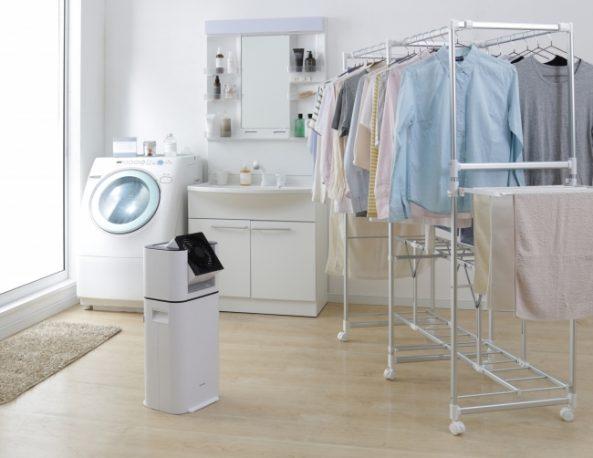サーキュレーター衣類乾燥除湿機を使いランドリーで衣類を乾燥