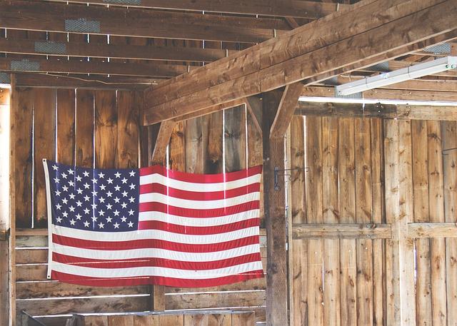 アメリカの国旗が飾られた部屋