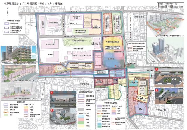 中野駅周辺のまちづくり概要図