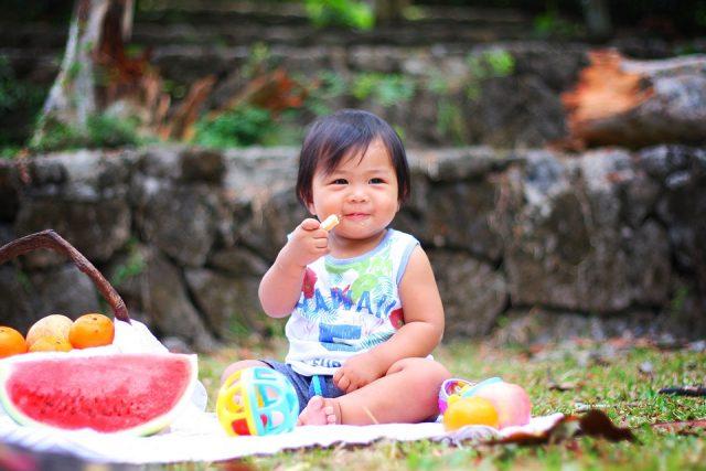 ピクニック中の子ども